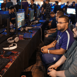 two gamers playing in tournament